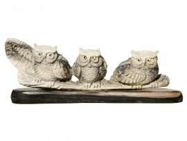 Unknown Artist - Antler Carving Owls on a Branch