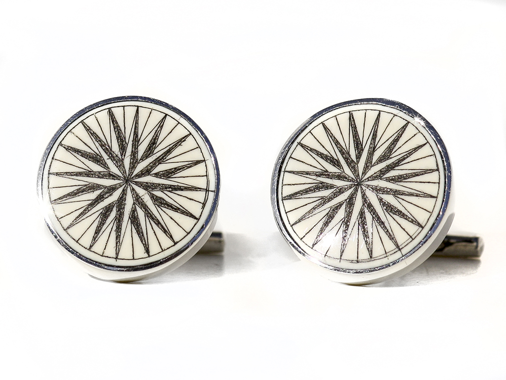 David Smith Scrimshaw - Compass Rose Scrimshaw Cufflinks