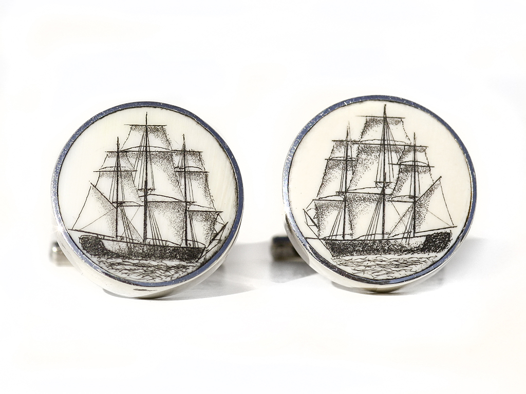 David Smith Scrimshaw - Whale Ship Scrimshaw Cufflinks
