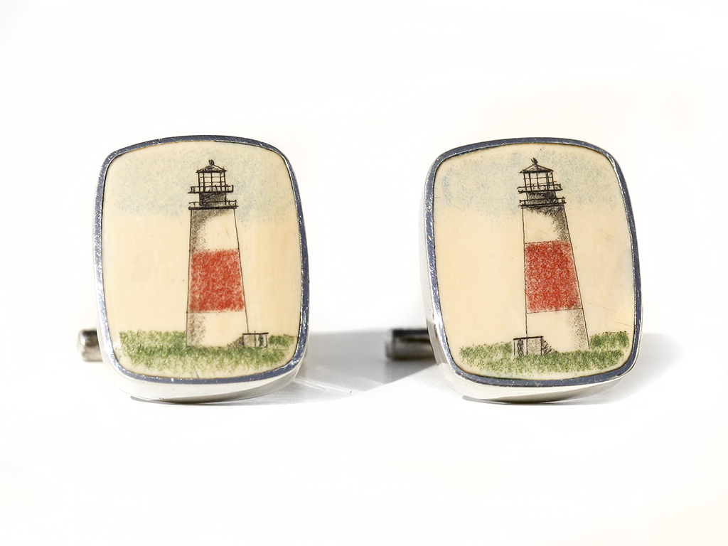 David Smith Scrimshaw - Sankaty Light Scrimshaw Cufflinks