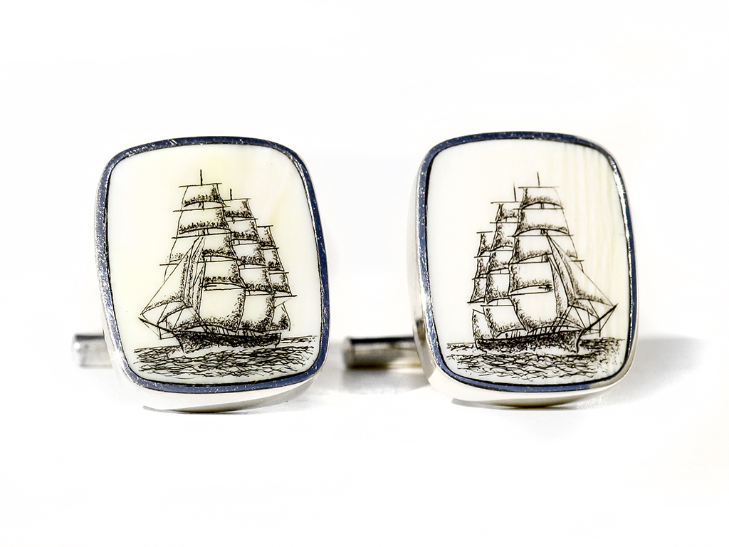 David Smith Scrimshaw - Clipper Ship Scrimshaw Cufflinks