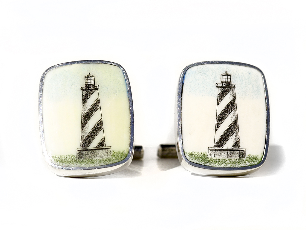 David Smith Scrimshaw - Hatteras Light Scrimshaw Cufflinks