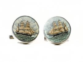 Joel Cowan - Scrimshaw Cufflinks on Ancient Mammoth Ivory