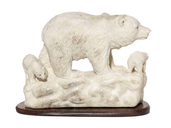 Unknown Artist - Moose Antler Carving - Bear and Cubs