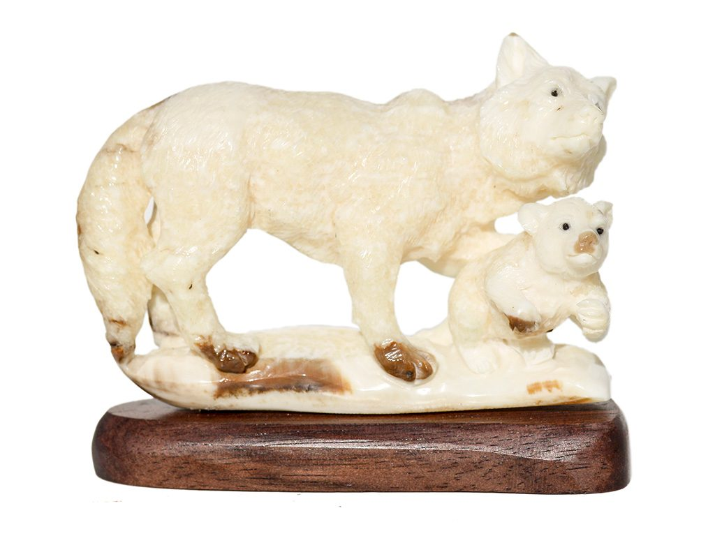 Unknown Artist - Ancient Walrus Tusk Carving - Wolf and Cub