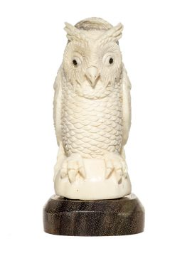 Unknown Artist - Antler Carving - Great Horned Owl