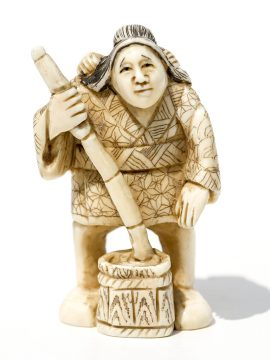 Unknown Carver - Ivory Netsuke Woman and Child