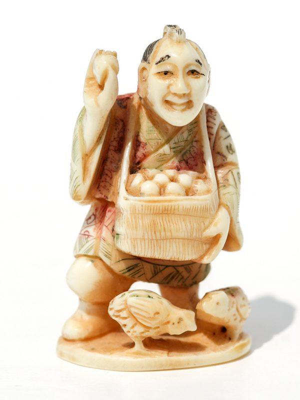 Unknown Artist - Man Selling Eggs Netsuke