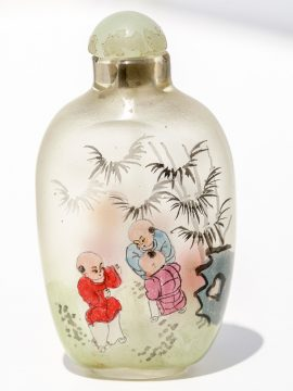 Unknown Artist - Painted Glass Snuff Bottle - Scrimshaw Collector