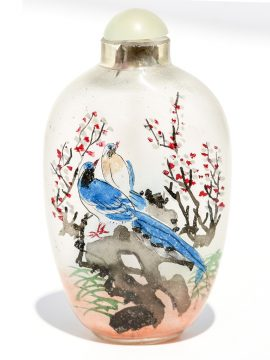 Unknown Artist - Bluebirds Glass Snuff Jar - Scrimshaw Collector