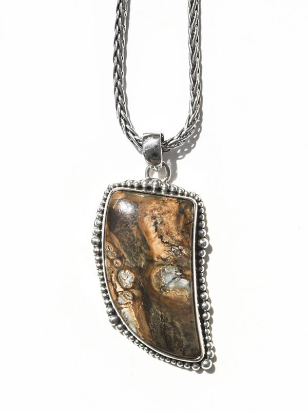 Mammoth Tooth Pendant - Sterling Silver Setting