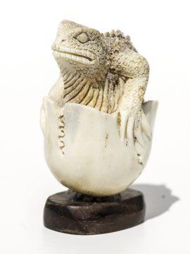 Moose Antler Carving Reptile Egg - Scrimshaw Collector