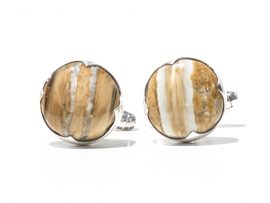 Mammoth Tooth Cufflinks - Sterling Silver Setting