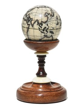 Scrimshaw Globe on Ivory Cue Ball - Scrimshaw Collector