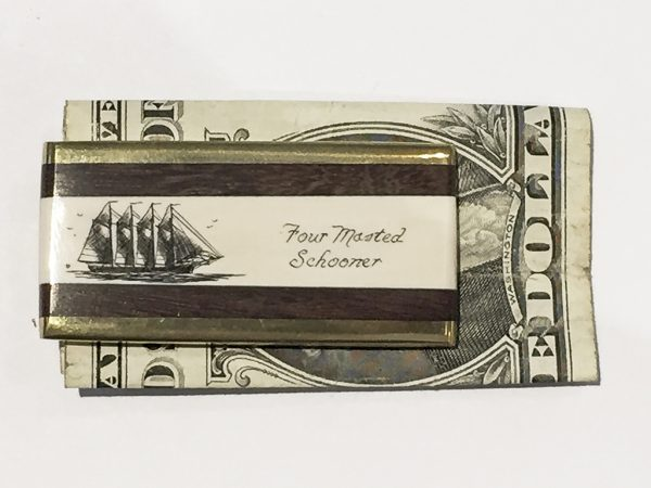Scrimshaw Money Clip - Four Masted Schooner