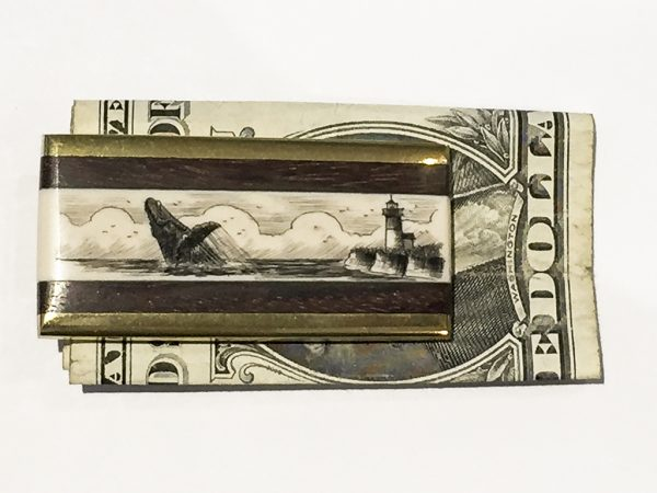 Scrimshaw Money Clip - Lighthouse and Whale