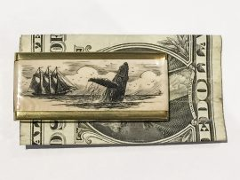 Scrimshaw Money Clip - Breaching Whale