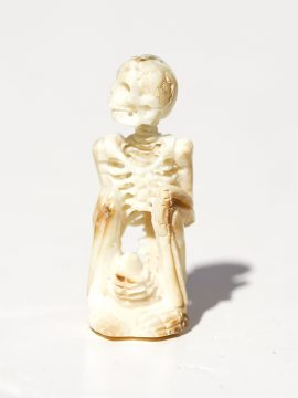 Unknown Artist - Yoga Pose Skeleton with Bottle - Scrimshaw Collector