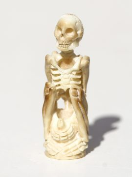 Unknown Artist - Yoga Pose Skeleton with Bottle - Scrimshaw Gallery