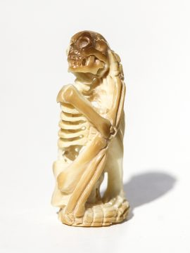 Unknown Artist - Yoga Pose Skeleton Carving - Scrimshaw Collector