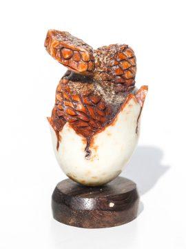 Unknown Artist - Rattlesnake in Egg Carving