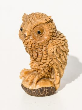 Unknown Artist - Owl Carving on Tagua Nut