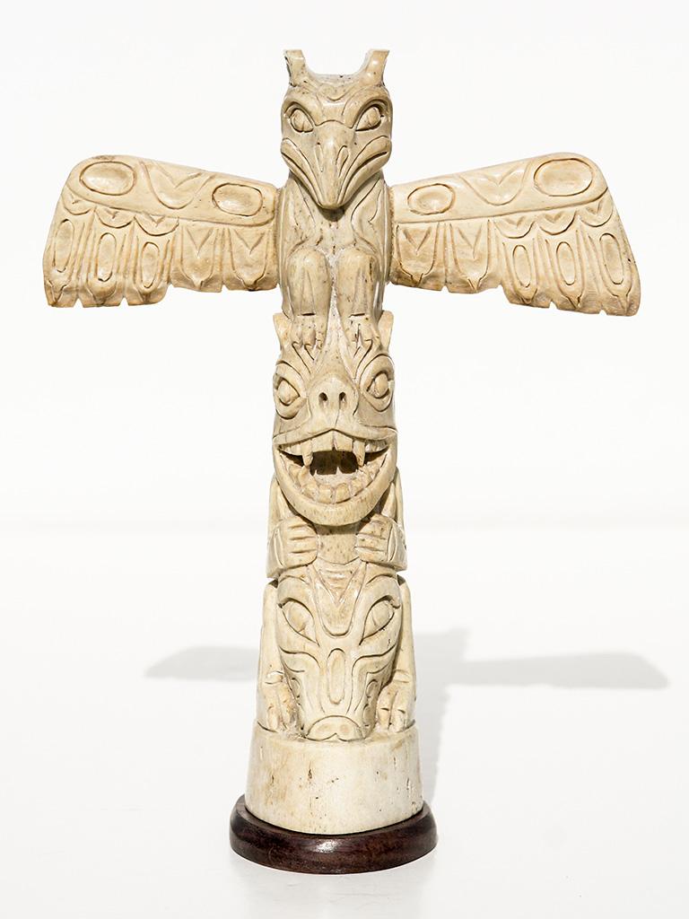 Unknown Artist Carved Oosik Totem Pole Scrimshaw Collector