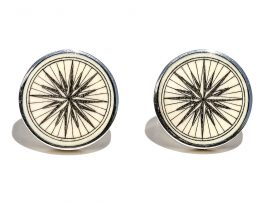 David Smith Scrimshaw - Compass Rose Cufflinks