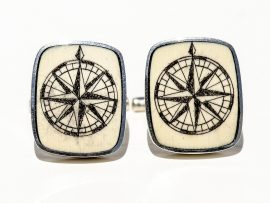 David Smith Scrimshaw - Scrimshaw Cufflinks - Compass Rose