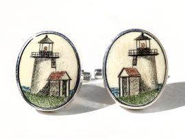David Smith Scrimshaw - Brant Point Light Cufflinks