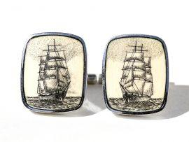 David Smith Scrimshaw - Clipper Ship Cufflinks