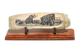 Charles Conner Scrimshaw - Wooly Mammoth Family