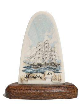Jim Clay Scrimshaw - Ship Mendota 1874