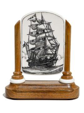 Peter Kinney Scrimshaw - Under Full Sail