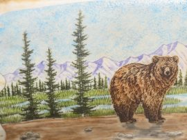 Dennis Sims Scrimshaw - Mamma Bear and Cubs