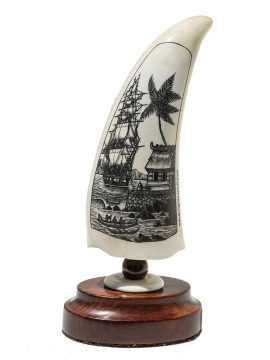 Peter Kinney Scrimshaw - South Seas Harbor Scene