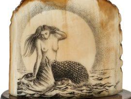 Ray Peters Scrimshaw - Full Moon Mermaid