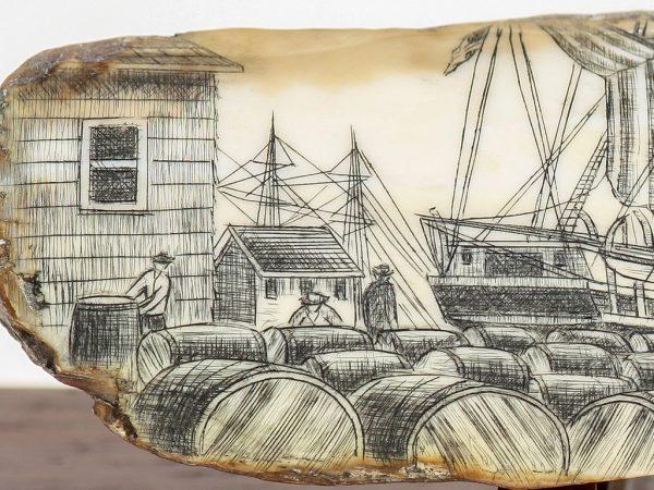 Salman Rashidi Scrimshaw - Barrels of Whale Oil