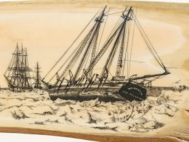 Gerry Dupont Scrimshaw - Ice Bound Whalers 1871